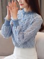 Elegant Shirred Paneled Stand Collar Solid Blouses