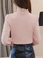 Stand Collar Guipure Lace Sweet Paneled Blouses