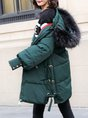 Hoodie Lace Up Buttoned Zipper Shift Coat