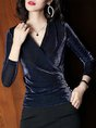 Dark Blue Elegant Shimmer Surplice Neck Shift Tops