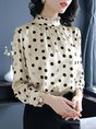 Stand Collar Work Long Sleeve Shift Blouses