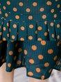 Tie-Neck A-Line Elegant Polka Dots Green Midi Dress