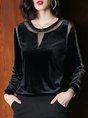 Black Velvet Elegant Shimmer Paneled Tops