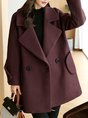 Solid Casual Shift Buttoned Pockets Long Sleeve Coat