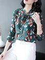 Shift Long Sleeve Printed Tie-Neck Work Blouses