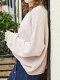 Pink Knitted Shift Long Sleeve Casual Sweater