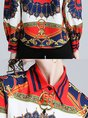 White-Blue Shirt Collar Printed Blouses
