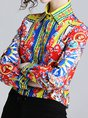 Red Shift Printed Color-Block Buttoned Blouses