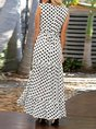 White Daytime Polka Dots Maxi Dress