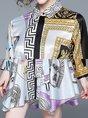 Casual Shirt Collar Sheath Daytime Abstract Printed Mini Dress