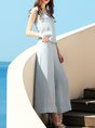 Light Blue Chiffon Casual Sleeveless Jumpsuit