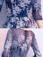 Elegant A-Line Wedding Crew Neck Sequins Floral Maxi Dress