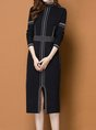 Stand Collar Slit  Sheath Date Casual Wool  Sweater Dress
