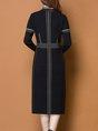 Stand Collar Slit  Sheath Date Casual Wool  Sweater Dress