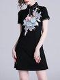 Summer Spring Casual Shirt Collar Black Shift Embroidered  Mini Dress
