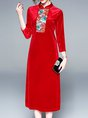 Vintage Stand Collar 3/4 Sleeve Velvet Floral Embroidered Midi Dress