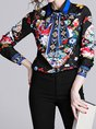 Black Tie-Neck Floral Printed Long Sleeve Vintage Blouse