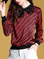 Printed Letter Casual Statement Red Bow Long Sleeve Shift Blouse