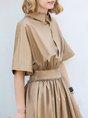 Shirt Collar  A-Line Daily Casual Half Sleeve Gathered Maxi Dress