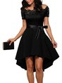 Off Shoulder High Low Short Sleeve Party Lace Paneled Midi Dress