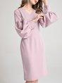Black Elegant V Neck Balloon Sleeve  Shift Date  Midi Dress