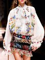 Frill Sleeve Chiffon Party Tie-Neck Embroidered Boho Blouse