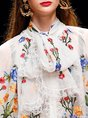 Frill Sleeve Chiffon Party Tie-Neck Embroidered Boho Top