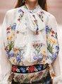 Embroidered Floral Tie-Neck Elegant Blouse