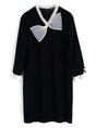 Sweet Black Tie-Neck Bow Paneled Solid Zipper Shift Mini Dress