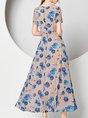 V Neck Elegant A-Line Short Sleeve Party Floral Maxi Dress