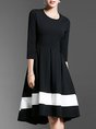Black High Low Daytime Casual Color-Block Midi Dress