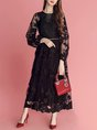 A-Line Sweet Embroidered Balloon Sleeve Vintage Maxi Dress
