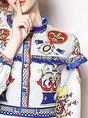 Stand Collar A-Line Daytime Vintage Ruffled Midi Dress