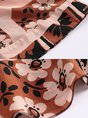 Printed V Neck Boho Swing Paneled Floral Midi Dress