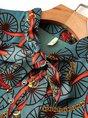 Long Sleeve Tie-Neck Printed Pleated Midi Dress