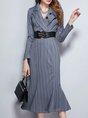 Lapel Work  Sheath Date Ruffled Elegant Midi Dress
