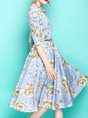 Bateau/boat Neck Blue  A-Line Date Elegant Floral-Print Midi Dress