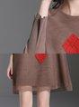 Beaded Mesh Shift Daily Printed Mini Dress