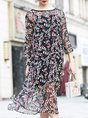Black Swing Floral Casual Mesh Dress With Cami Two-Piece Set