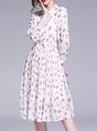 Tie-Neck White  A-Line Daytime Casual Floral-Print Midi Dress