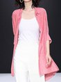 Buttoned Casual Solid Shimmer Shirt Collar Cardigan
