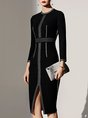 Crew Neck Bodycon Date Elegant Work Slit Midi Dress
