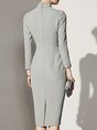 Stand Collar Elegant Bodycon Date Bow Midi Dress