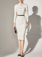 Shirt Collar Elegant Bodycon Party Buttoned Striped Midi Dress