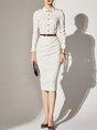 Striped Buttoned Elegant Midi Dress
