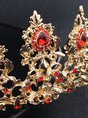 Red Alloy Cocktail Headdress With Earrings