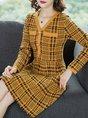 V Neck Geometric A-Line Date Elegant  Midi Dress