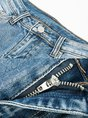 Light Blue Statement Fringed Denim Flared Pants