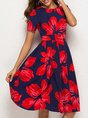 Printed Red A-Line Floral Midi Dress