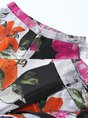 Color-Block Multicolor Pockets Elegant Floral Two-Piece Set